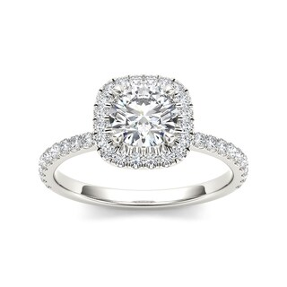 De Couer 14k White Gold 1 1/4ct TDW Diamond Halo Engagement Ring
