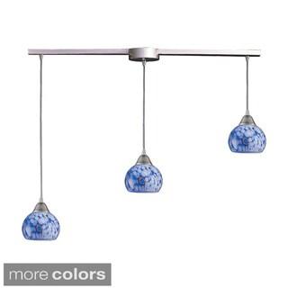 Mela 3-light Starlight Blue/ Satin Nickel Pendant