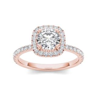 De Couer 14k Rose Gold 1 1/4ct TDW Diamond Halo Engagement Ring