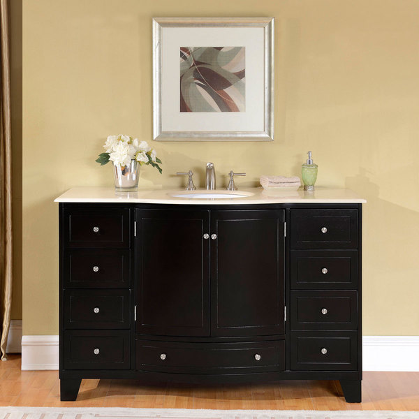 shop silkroad exclusive 55 inch crema marfil marble stone top bathroom single sink vanity free. Black Bedroom Furniture Sets. Home Design Ideas