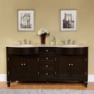 Silkroad Exclusive 72-inch Crema Marfil Marble Stone Top Bathroom Double Sink Vanity