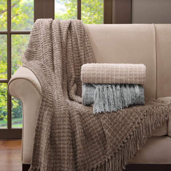 Madison Park Signature Luxury Braided Chenille Throw in Gift Box
