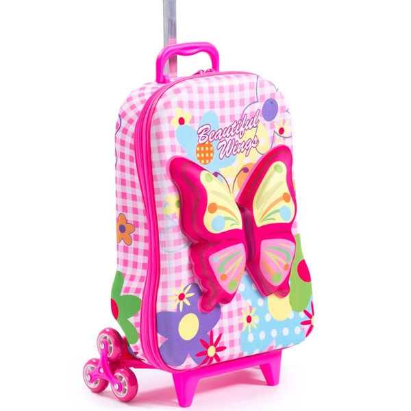 Shop Maxi S Designs Children S 3d Beautiful Wings 3 Wheel Carry On Rolling Upright Suitcase