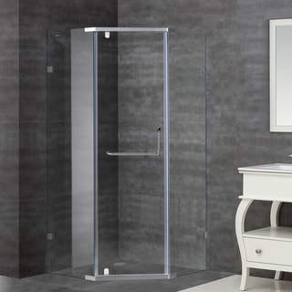 Aston 36-in x 36-in Semi-Frameless Neo-Angle Shower Enclosure in Stainless Steel