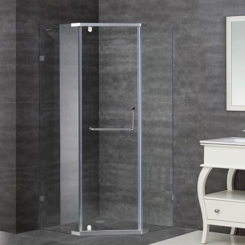 Aston 38-in x 38-in Semi-Frameless Neo-Angle Shower Enclosure in Stainless Steel