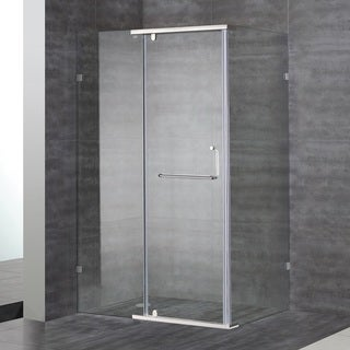 Aston 48-in x 35-in x 75-in Semi Frameless Rectangular Shower Enclosure in Stainless Steel