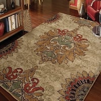 Carolina Weavers Grand Comfort Collection Curtis Beige Shag Area Rug - 5'3 x 7'6