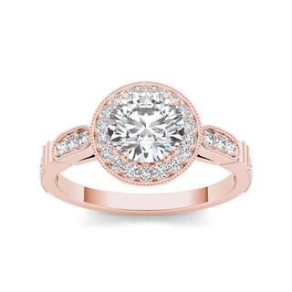 De Couer 14k Rose Gold 1 1/4ct TDW Diamond Single Frame Solitaire Engagement Ring