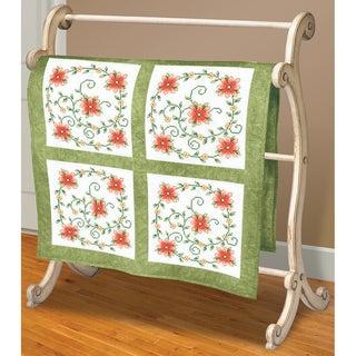 "Swirl Of Flowers Quilt Blocks Stamped Cross Stitch-18""X18"" 6/Pkg"