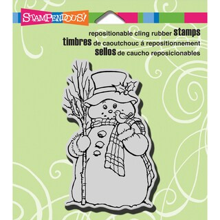 """Stampendous Christmas Cling Rubber Stamp 3.5""""X4"""" Sheet-Country Snowman"""