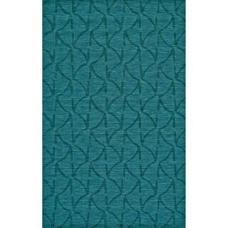 Grand Bazaar Hand Woven 100-percent Wool Pile Rigby Rug in Teal 8' X 11' - 8' x 11'