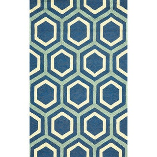 "Grand Bazaar Tufted Polypropylene Salvaje Rug in Atlantic 8'-6"" x 11'-6"""