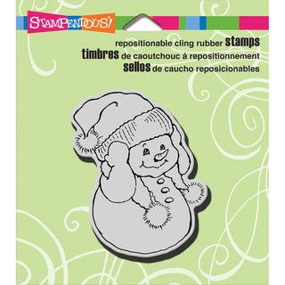 """Stampendous Christmas Cling Rubber Stamp 3.5""""X4"""" Sheet-Snowman Warm Ears"""