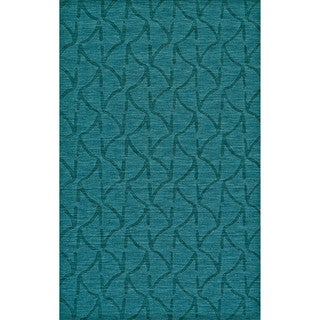 "Grand Bazaar Hand Woven 100-percent Wool Pile Rigby Rug in Teal 2'-6"" x 8'"