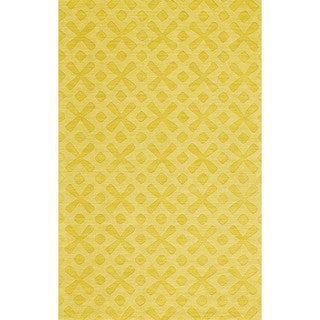 """Grand Bazaar Hand Woven 100-percent Wool Pile Rigby Rug in Yellow 2'-6"""" x 8'"""
