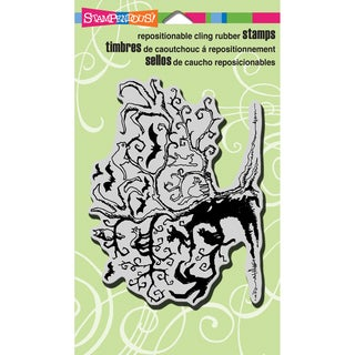"""Stampendous Halloween Cling Rubber Stamp 4""""X6"""" Sheet-Twisted Tree"""