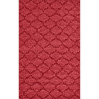 Grand Bazaar Hand Woven 100-percent Wool Pile Rigby Rug in Red - 5' x 8'