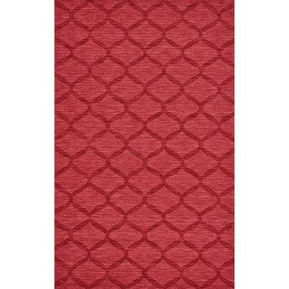 Grand Bazaar Hand Woven 100-percent Wool Pile Rigby Rug in Red 5' x 8' - 5' x 8'