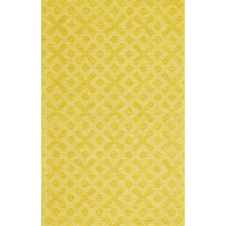Grand Bazaar Hand Woven 100-percent Wool Pile Rigby Rug in Yellow 5' x 8' - 5' x 8'