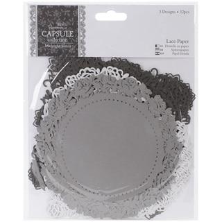 "Papermania Midnight Blush Die-Cut Lace Paper 5.5"" 12/Pkg"
