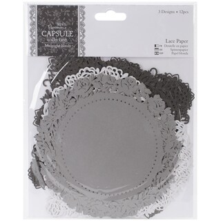"Papermania Midnight Blush Die-Cut Lace Paper 5.5"" 12/Pkg"