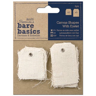 Papermania Bare Basics Canvas Shapes W/Eyelet 6/Pkg-Small & Large Tag