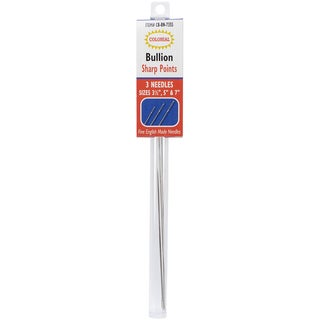 "Bullion Needles-Sharp Points Sizes 3.5"", 5"" & 7"" 3/Pkg"