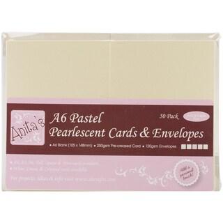 Anita's Pearlescent Cards/Envelopes A6 50/Pkg-Pastel Ivory, Ecru, Pink, Peach & Green