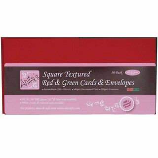 "Anita's Square Textured Cards/Envelopes 5""X5"" 50/Pkg-Red & Green"