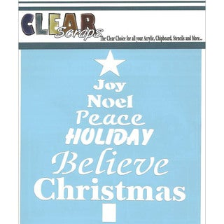 "Clear Scraps Stencils 6""X6""-Word Christmas Tree"