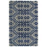 Hand-tufted de Leon Boho Navy Rug (3'6 x 5'6)
