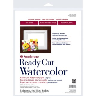 Strathmore Watercolor Paper 11X14-140lb 6 Sheets Hot Pressed