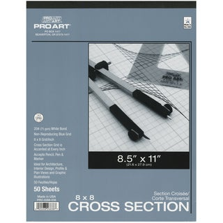 "Pro Art Cross Section Pad 8.5""X11""-8x8 Grid 50/Sheets"