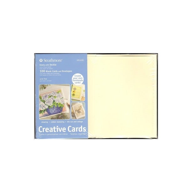 strathmore cards and envelopes 5x7 100 pkg ivory deckle free