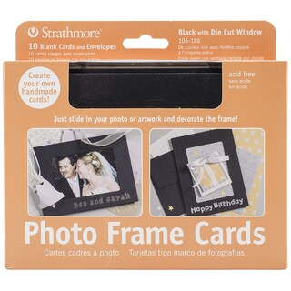 Strathmore Cards & Envelopes 5X7 10/Pkg-Black Photo Frame