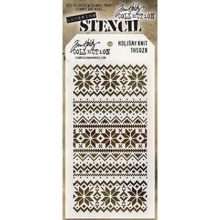 "Tim Holtz Layered Stencil 4.125""X8.5""-Holiday Knit"