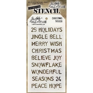 "Tim Holtz Layered Stencil 4.125""X8.5""-Christmas"