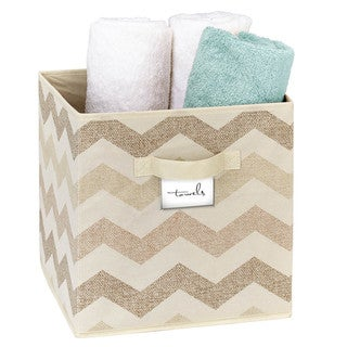 The Macbeth Collection Textured Chevron Printed Storage Cube