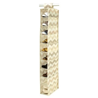 The Macbeth Collection Textured Chevron Printed 10-shelf Shoe Organizer