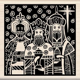 "Inkadinkado Christmas Mounted Rubber Stamp 3""X3""-Three Kings"