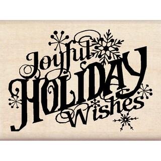 """Inkadinkado Christmas Mounted Rubber Stamp 3""""X2.25""""-Joyful Holiday Wishes"""