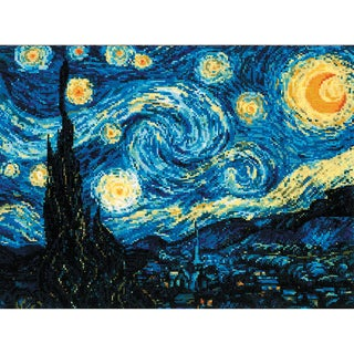 """Starry Night After Van Gogh's Painting Counted Cross Stitch -15.75""""X15.75"""" 14 Count"""
