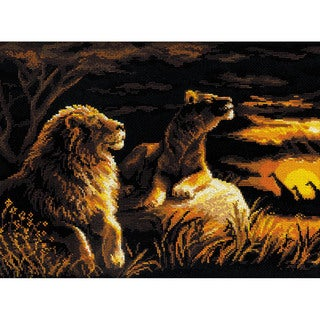 "Lions In The Savannah Counted Cross Stitch Kit-15.75""X11.75"" 14 Count"