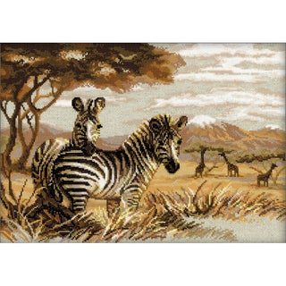 "Zebras In The Savannah Counted Cross Stitch Kit-15.75""X11.75"" 14 Count"