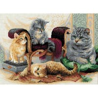 """Feline Family Counted Cross Stitch Kit-15.75""""X11.75"""" 14 Count"""