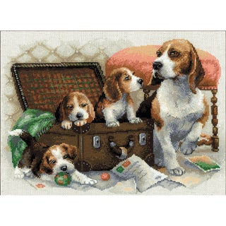 "Canine Family Counted Cross Stitch Kit-15.75""X11.75"" 14 Count"