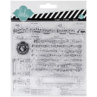 "Heidi Swapp Mixed Media Clear Stamps 5.5""X5.5""-Music Notes