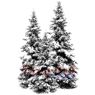 "Deep Red Cling Stamp 2""X3""-Winter Pines