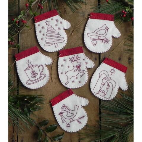 Redwork Mittens Ornament Kit-Set Of Six