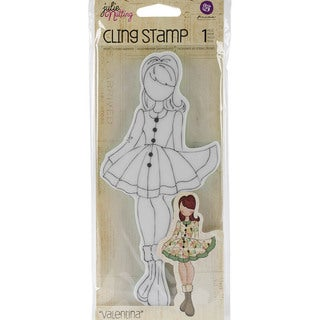 "Julie Nutting Cling Rubber Stamps 3.3""X7.2""-Valentina"